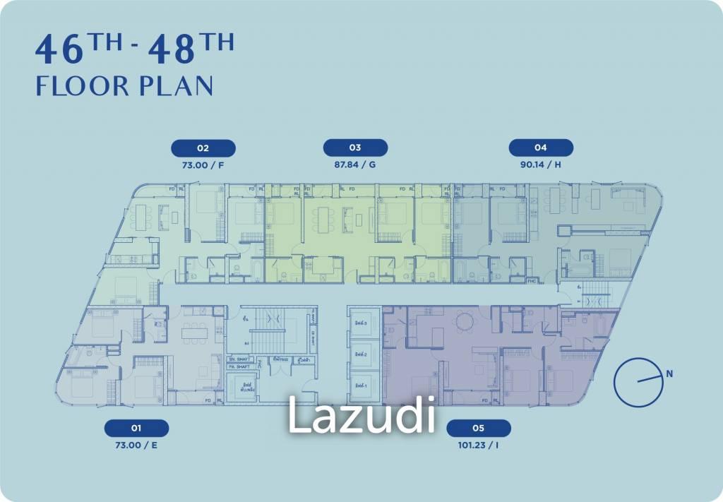 3 ห้องนอน 87.84ตร.ม สกายไลน์ อเวนิว สุขุมวิท 64