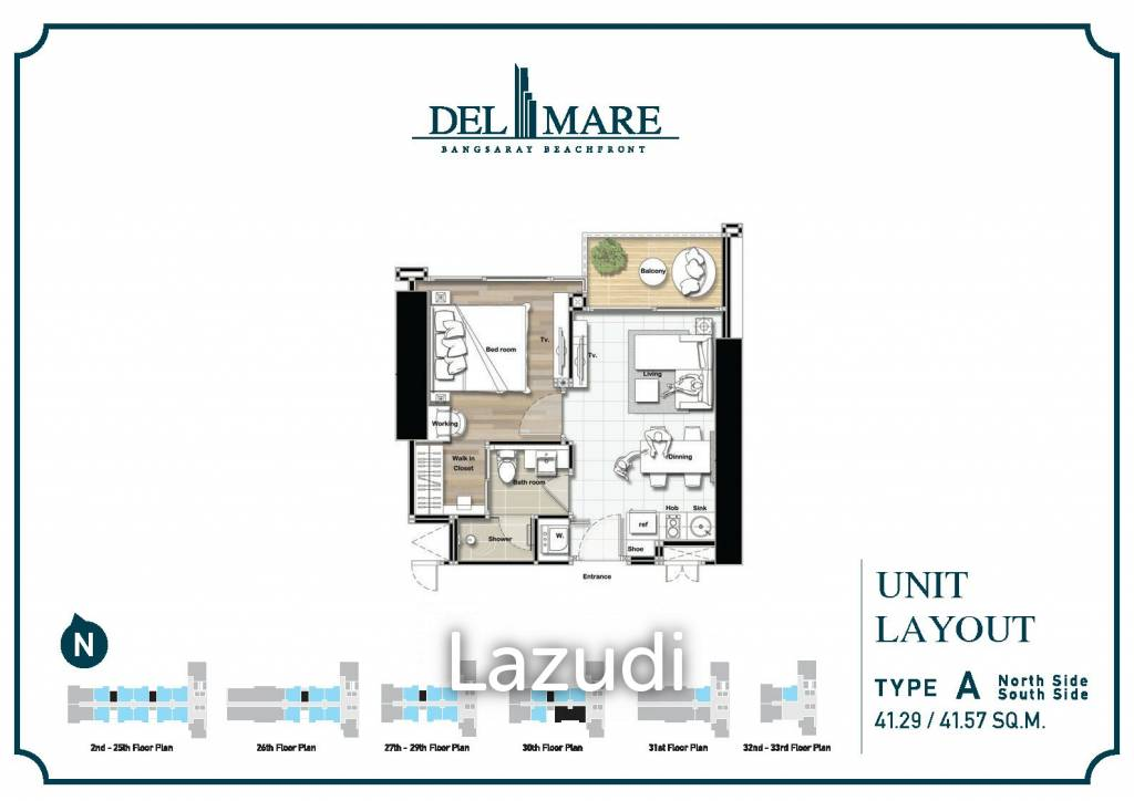 1 Bed 41.57SQ.M Del Mare Bangsaray Condominium