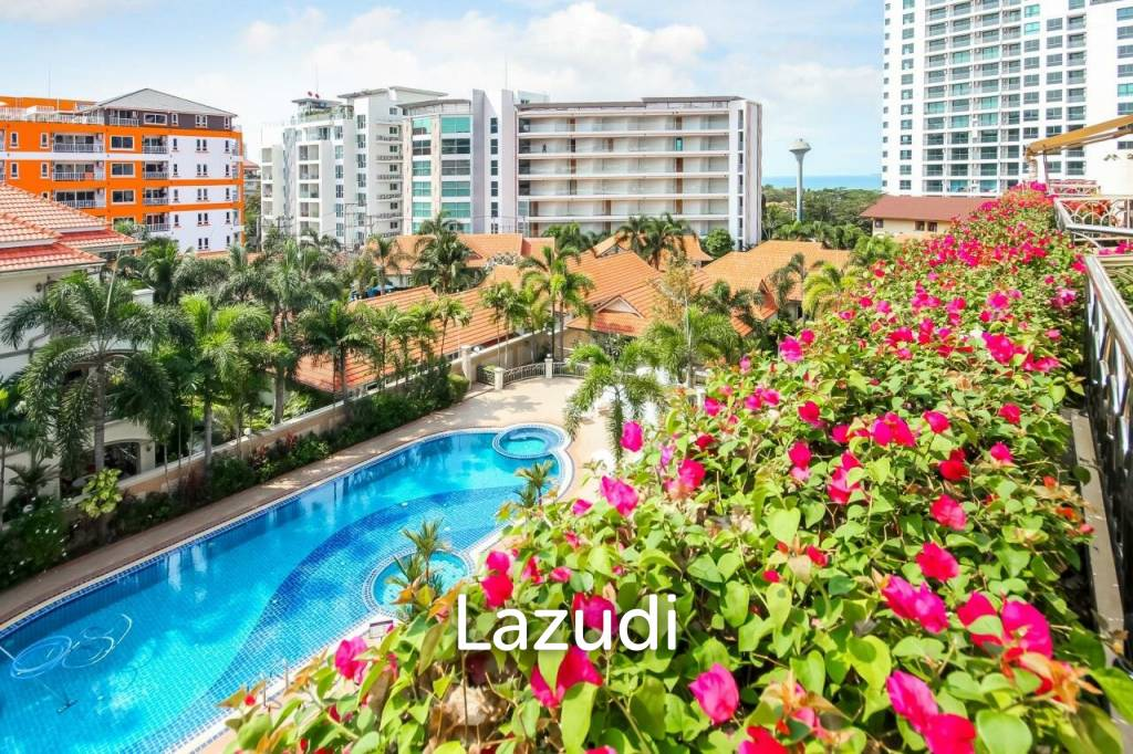 Condo with large balcony and beautiful view.