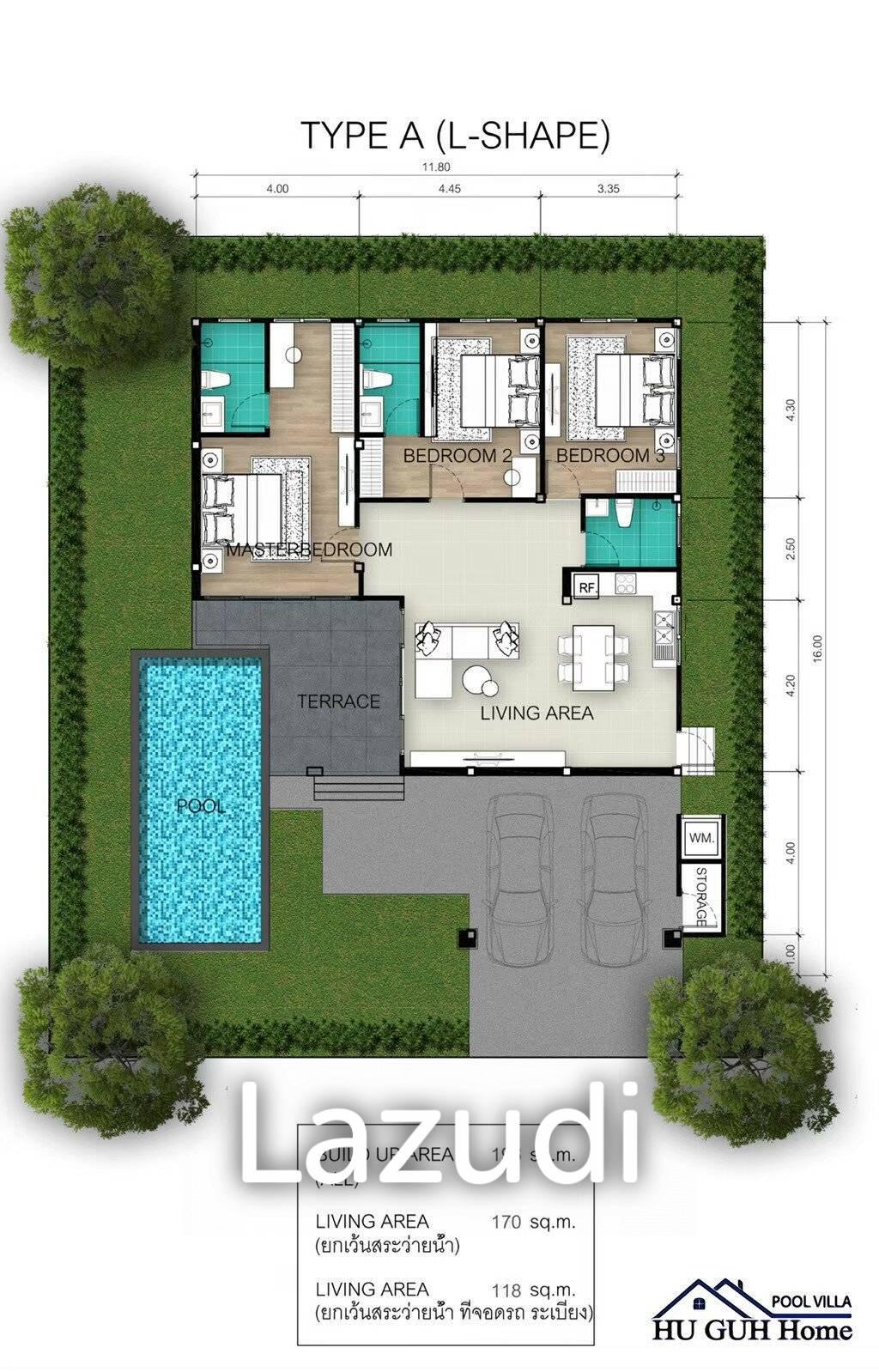 3 bed 80SQM Huguh Home Pool Villa Cha-Am